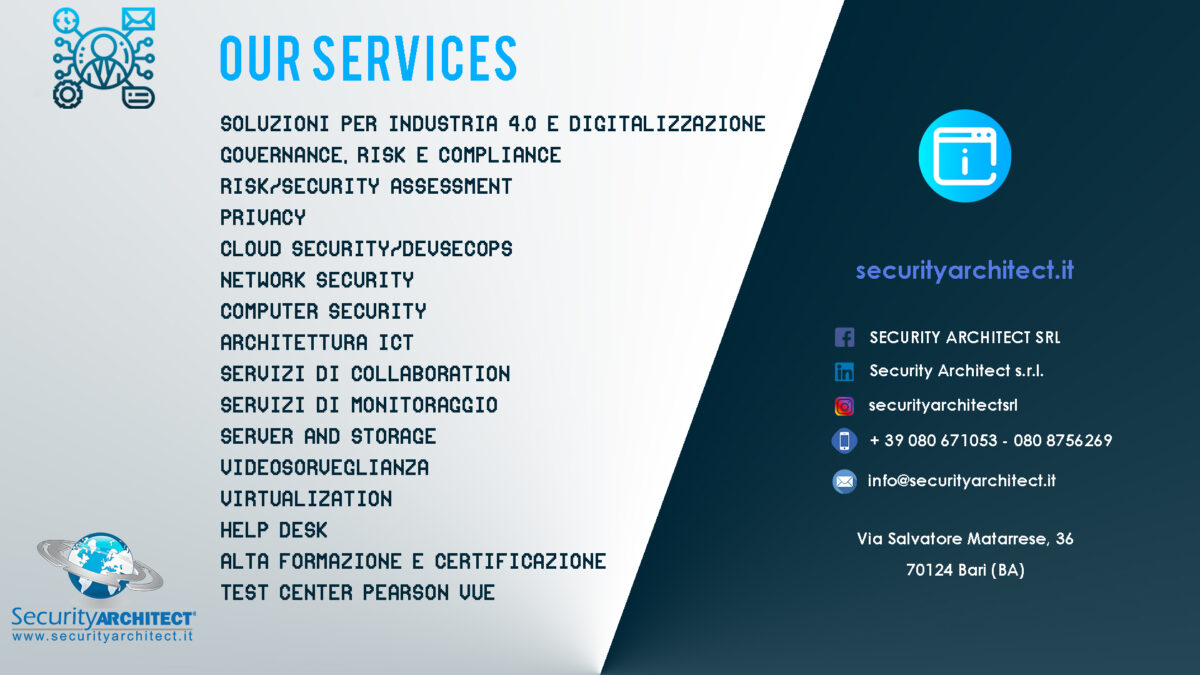 I nostri Servizi Security Architect Srl